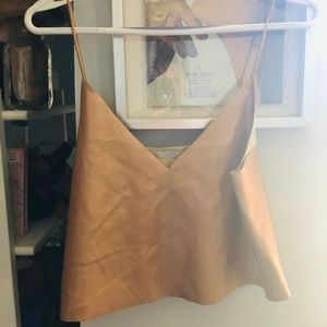 Zara Bronze faux leather top